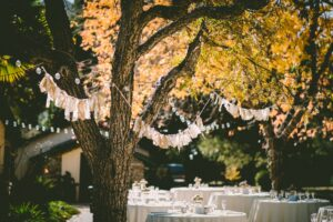 Garden party with fairy lights and white seating